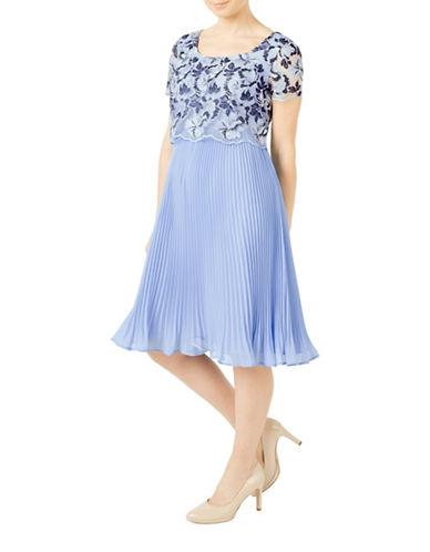 Jacques Vert Floral Print Plisse Dress-BLUE-UK 10/US 8