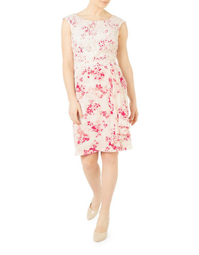 Jacques Vert Floral and Lace Sheath Dress-MULTI PINK-UK 20/US 18