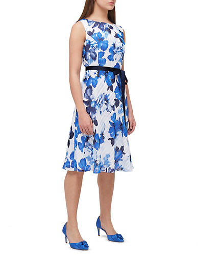 Jacques Vert Petite Burnout Floral Dress-MULTI BLUE-UK 14/US 12