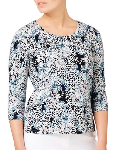 Eastex Tessarae Print Jersey Top-MULTI BLUE-UK 14/US 12