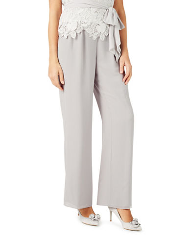 Jacques Vert Chiffon Straight Trousers-GREY-UK 8/US 6