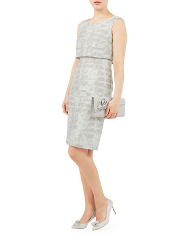 Jacques Vert Burnout Stripe Shell Shift Dress-GREY-UK 8/US 6