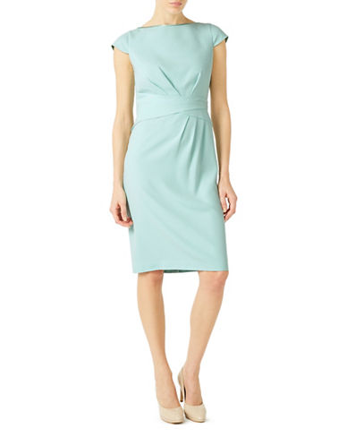Jacques Vert Pleated Detail Sheath Dress-GREEN-UK 18/US 16