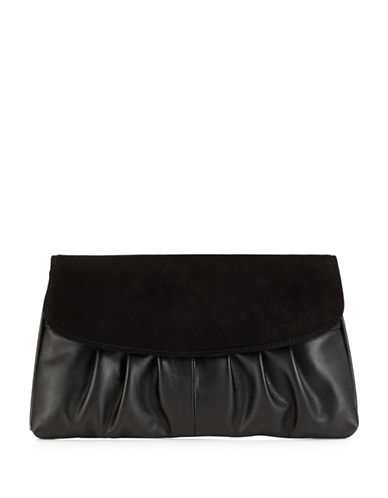 Jacques Vert Suede Clutch Bag-BLACK-One Size