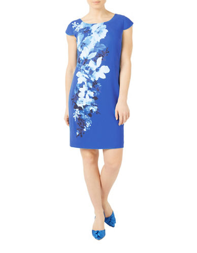 Jacques Vert Riviera Printed Dress-MULTI BLUE-UK 10/US 8