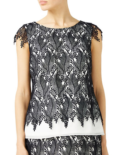 Jacques Vert Leaf Lace Contrast Top-MULTI-UK 8/US 6