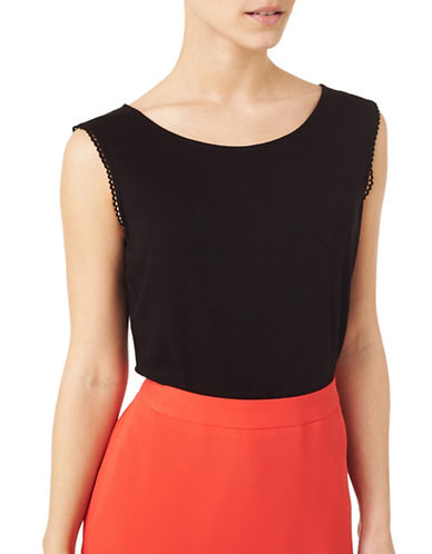 Precis Petite Pretty Trim Jersey Vest-BLACK-X-Small