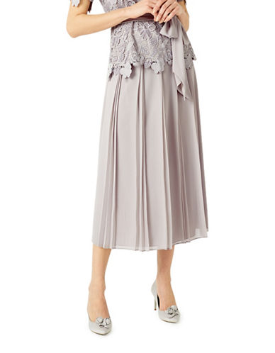 Jacques Vert Placement Pleated Midi Skirt-GREY-UK 18/US 16