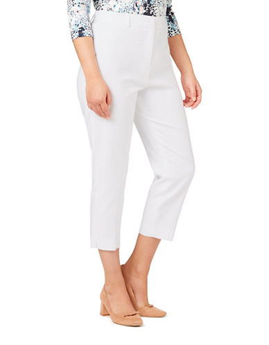 Eastex Button-Detailed Cropped Trousers-WHITE-UK 10/US 8