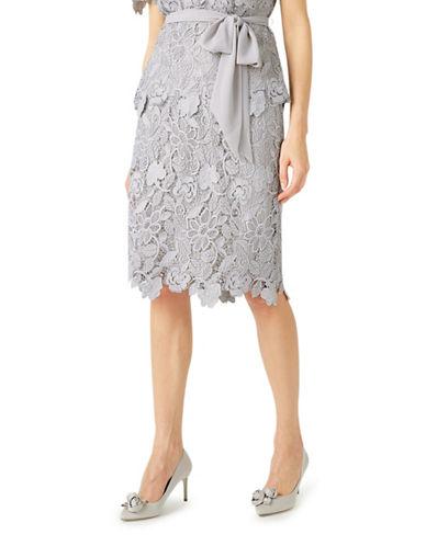 Jacques Vert Floral Lace Pencil Skirt-GREY-UK 10/US 8