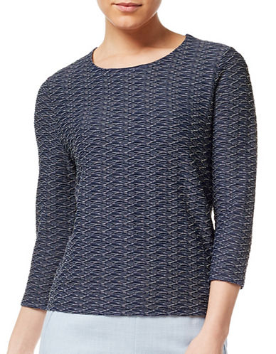 Eastex Two-Tone Wavy Jersey Top-MULTI NAVY-UK 16/US 14