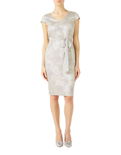 Jacques Vert Subtle Jacquard Sheath Dress-GREY-UK 10/US 8