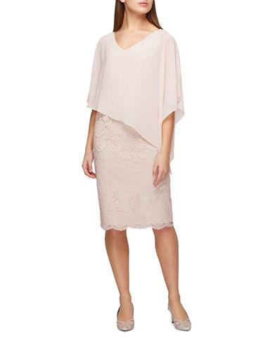 Jacques Vert Lace and Chiffon Dress-NEUTRAL-UK 22/US 20