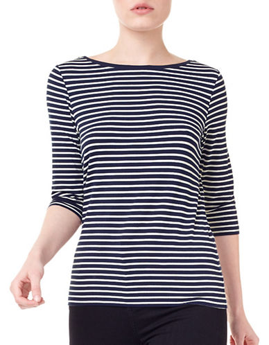 Precis Petite Anika Striped Top-MULTI NAVY-Medium
