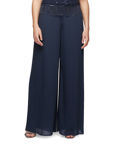 Jacques Vert Chiffon Pleated Trousers-NAVY-UK 12/US 10