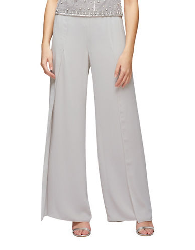 Jacques Vert Side Split Chiffon Trousers-GREY-UK 18/US 16