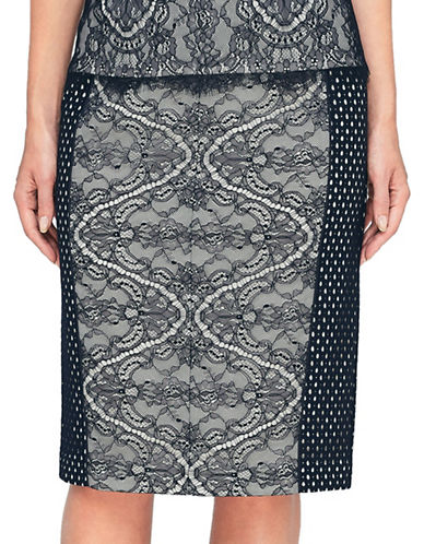Jacques Vert Lace Pencil Skirt-NAVY-UK 8/US 6