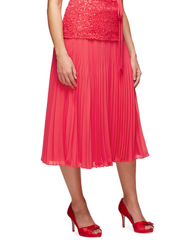 Jacques Vert Midi Plisse Skirt-PINK-Medium