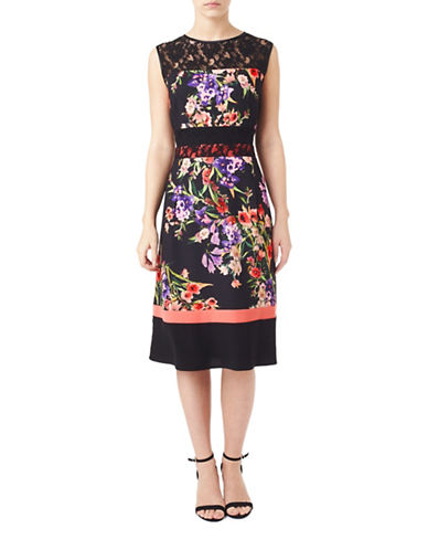 Precis Petite Petite Print and Lace Dress-BLACK-UK 12/US 10