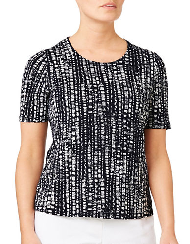 Eastex Broken Stripe Jersey Top-MULTI NAVY-UK 10/US 8
