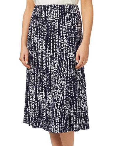 Eastex Broken Striped Jersey A-Line Skirt-MULTI NAVY-UK 16/US 14