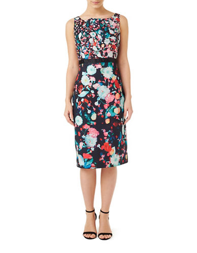 Precis Petite Floral Print Sleeveless Dress-BLACK MULTI-UK 6/US 4