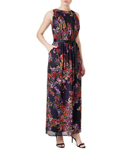 Precis Petite Petite Meadow-Print Dress-BLACK-UK 16/US 14