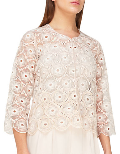 Jacques Vert Sequin Embroidered Anglaise Jacket-NEUTRAL-UK 22/US 20