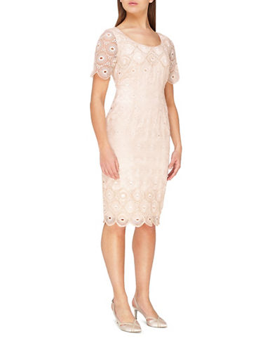 Jacques Vert Sequin Embroidered Anglaise Dress-NEUTRAL-UK 18/US 16