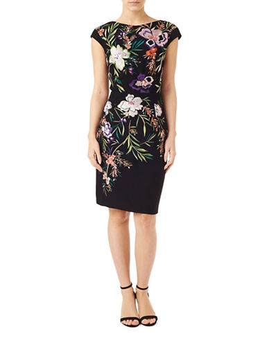 Precis Petite Embroidered Sheath Dress-BLACK-UK 12/US 10