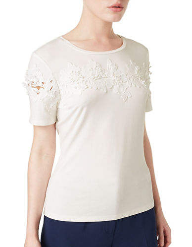 Precis Petite Leora Floral Applique Top-WHITE-Medium