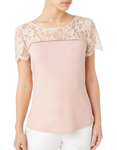 Precis Petite Lace Mix Tee-PINK-Small