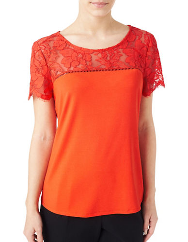 Precis Petite Lace Mix Tee-ORANGE-Large