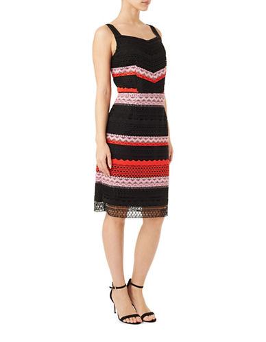 Precis Petite Stripe Lace Sheath Dress-BLACK MULTI-UK 18/US 16