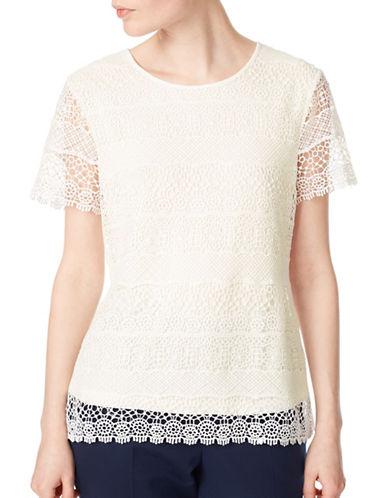 Precis Petite Striped Lace Top-WHITE-UK 16/US 14