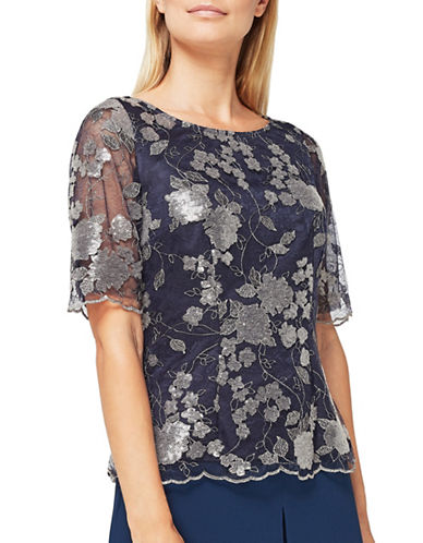 Jacques Vert Angelina Lace Blouse-NAVY-UK 14/US 12