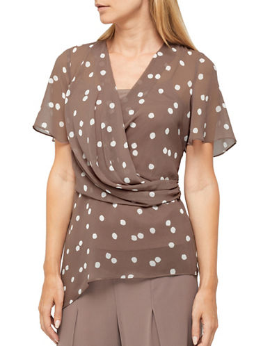 Jacques Vert Opheila Spot Chiffon Blouse-BROWN-UK 12/US 10