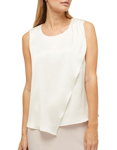 Jacques Vert Maya Hammered Blouse-IVORY-UK 12/US 10