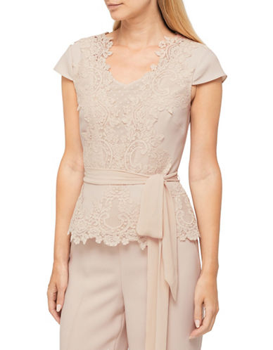 Jacques Vert Morena Lace Belted Blouse-NEUTRAL-UK 22/US 20