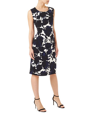 Precis Petite Shadow Floral Shift Dress-MULTI BLUE-UK 8/US 6