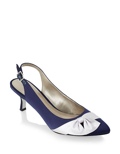 Jacques Vert Contrast Bow Slingback Pumps-MULTI NAVY-10.5