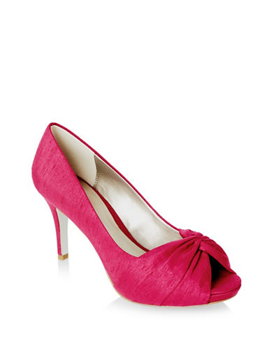 Jacques Vert Crossover Suede Pumps-DARK PINK-5.5