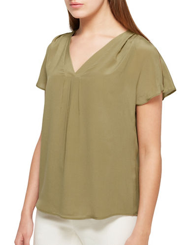 Jacques Vert Cold Shoulder Silk Top-GREEN-UK 16/US 14