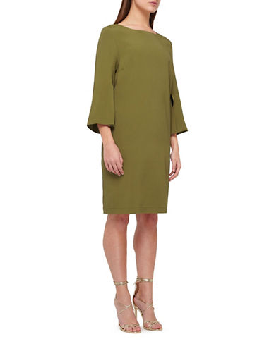 Jacques Vert Cuff Slit Shift Dress-GREEN-UK 16/US 14