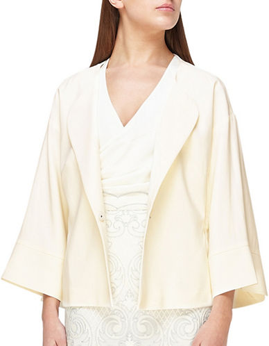 Jacques Vert Cinched Waist Kimono Jacket-IVORY-UK 14/US 12