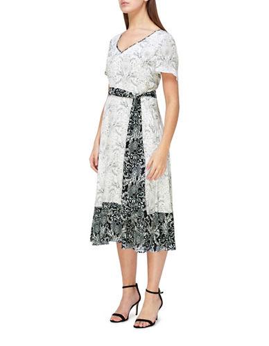 Jacques Vert Floral Tile Printed Dress-BLACK-UK 16/US 14