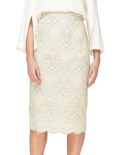 Jacques Vert Embroidered Pencil Skirt-IVORY-UK 12/US 10