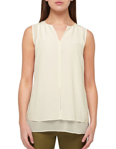Jacques Vert Double Layer Silk Chiffon Vest-IVORY-UK 12/US 10