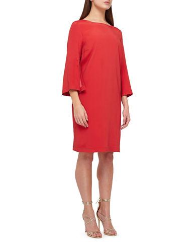 Jacques Vert Split Sleeve Knee-Length Dress-DARK RED-UK 10/US 8