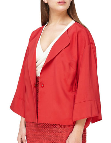 Jacques Vert Cinched Waist Kimono Jacket-DARK RED-UK 14/US 12